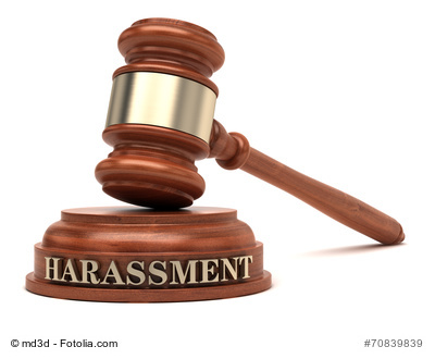Harassment text on sound block & gavel