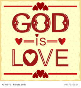 Bible verse God is love in red with hearts