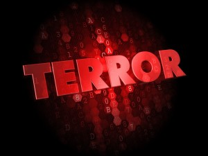 Terror -  Red Color Text on Digital Background.