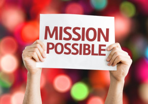 Mission Possible card with colorful background
