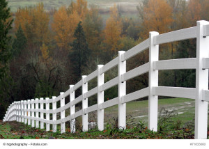 Scenic view of a white fencing heading down a hill during autumn season.