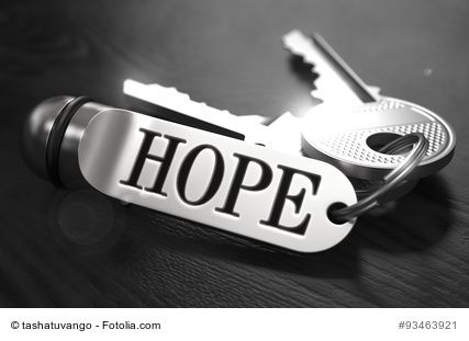 Hope Concept. Keys with Keyring on Black Wooden Table. Closeup View, Selective Focus, 3D Render. Black and White Image.
