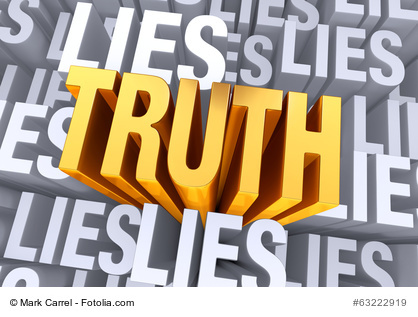 "A bold, bright gold ""TRUTH"" arises from a gray background consisting of the word ""LIES"" repeated many times a different depths."