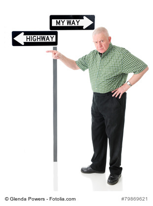 "An angry senior man pointing the viewer to the left, the same way the ""Highway"" arrow points, as opposed to the ""My Way"" arrow above it.  On a white background."