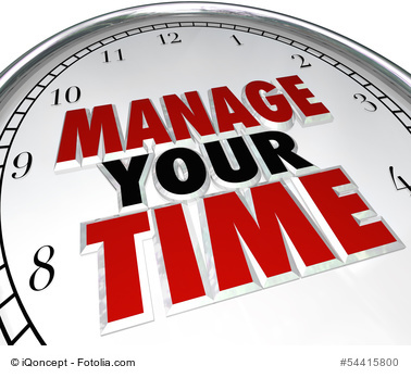 Manage Your Time words on a clock face to illustrate time management and using moments effectively to be productive and complete tasks before a due date or deadline