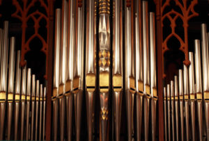 Beautifully ornate prospect pipes from a tracker organ