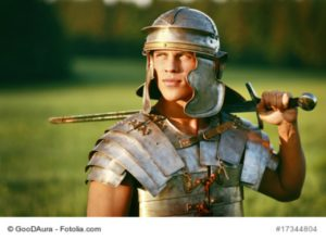 One Brave Roman soldier in field. Photo.