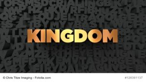Kingdom - Gold text on black background - 3D rendered royalty free stock picture. This image can be used for an online website banner ad or a print postcard.
